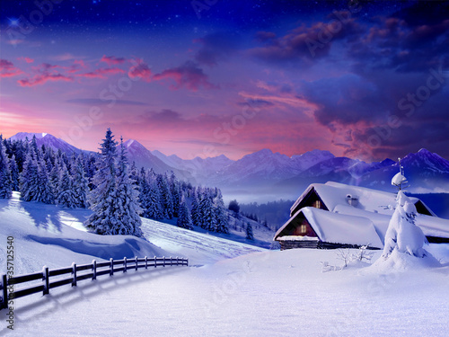 Fototapety, obrazy: winter landscape in the mountains