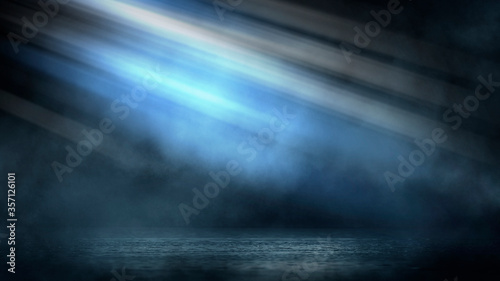 Fototapety, obrazy: Dark dramatic abstract scene background. Neon glow reflected on the pavement. Smoke, smog and fog. Dark street, wet asphalt, reflections of rays in the water. Abstract dark blue background.