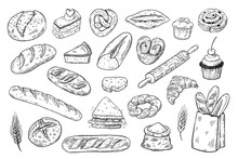 Bakery Sketch Set, Hand Drawn ...