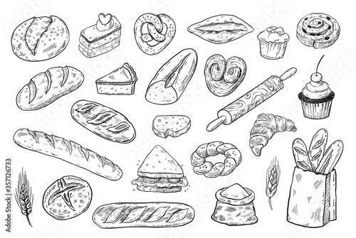 Obraz Bakery sketch set, hand drawn food illustration, doodle vector bread and pastry icons - fototapety do salonu