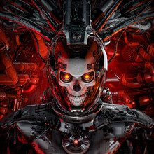 Flight Of The Reaper / 3D Illustration Of Science Fiction Cyberpunk Skull Faced Robot Inside Space Ship Cockpit
