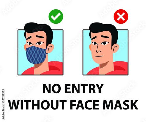 Fotografia, Obraz No entry without face mask signs
