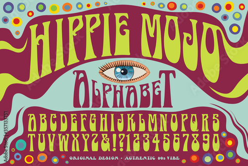 Photo Hippie Mojo Alphabet: An original wild psychedelic lettering style reminiscent of 1960s era posters