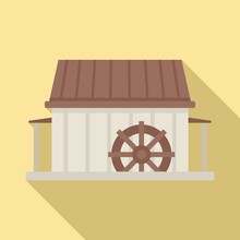 Water Mill Icon. Flat Illustration Of Water Mill Vector Icon For Web Design
