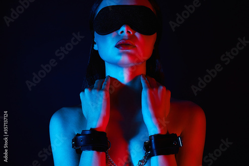 Girl in handcuffs and mask Canvas Print