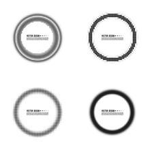 Set Of Abstract Circle Halfton...