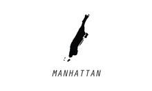 Manhattan Outline Map City Bor...