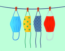 Dry Cloth Face Masks Illustration. Drying Fabric Masks. Hang Reusable Masks And Air-dry Under Indirect Sunlight. Hanging Washable Mask Vector.