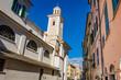 Sestri Levante, IT: Citta Dei Due Mari (City of the Two Seas) with Baia del Silenzio (Bay of Silence) and Baia delle Favole (Bay of the Fables) Sea harbor, beach, downtown. Liguria Italy