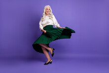 Full Length Body Size View Of Her She Nice Attractive Pretty Charming Dreamy Cheerful Grey-haired Woman Dancing Having Fun Isolated On Bright Vivid Shine Vibrant Lilac Violet Purple Color Background