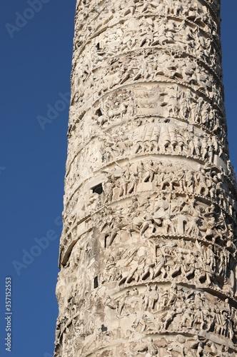 historic carved column called Column of Marcus Aurelius in Rome Fototapet