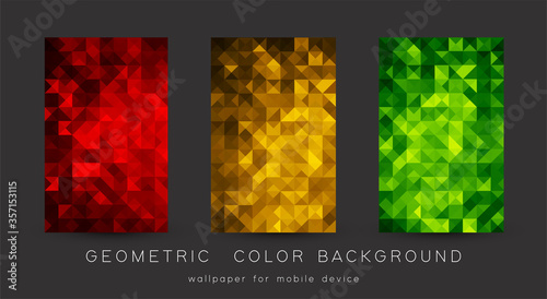 Obraz Abstract colorful background with triangles. Shiny geometric mosaic - fototapety do salonu