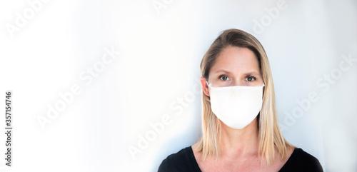 Fotografie, Obraz woman wearing social distance mask for prevention of corona virus