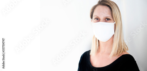 Obraz woman wearing social distance mask for prevention of corona virus  - fototapety do salonu