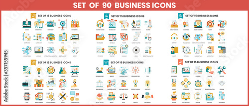 Obraz Business icons set for business - fototapety do salonu