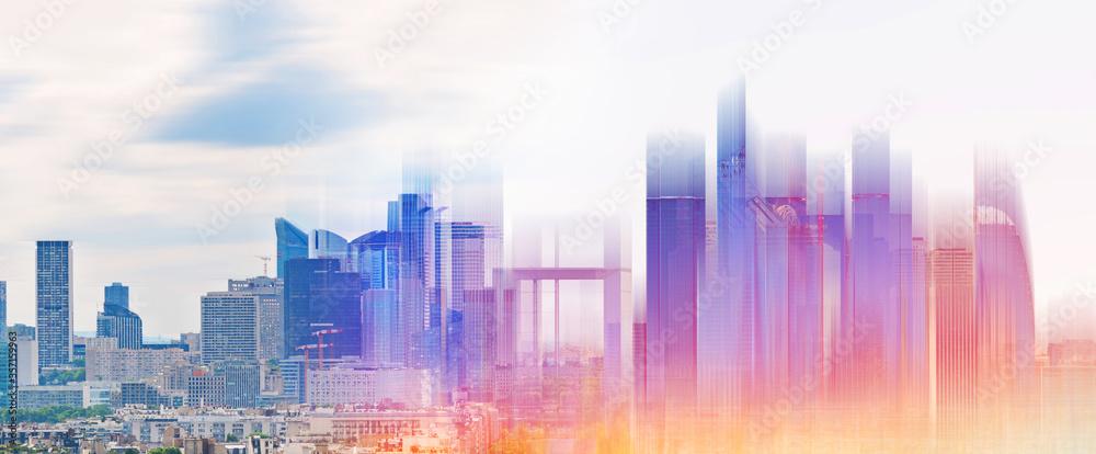 Fototapeta Modern buildings development with futuristic glowing colorful light