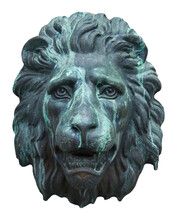 Antique Bronze Lion Face Sculpture Isolated On White