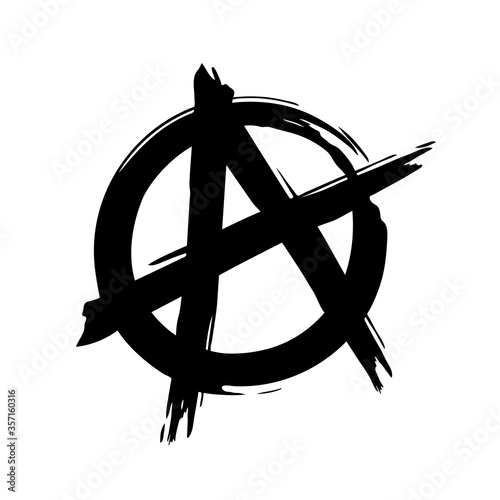 Grunge brush painted anarchy sign isolated on a white background Canvas-taulu