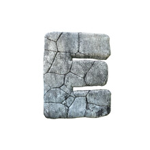 Letter E Cracked Grunge Stone ...