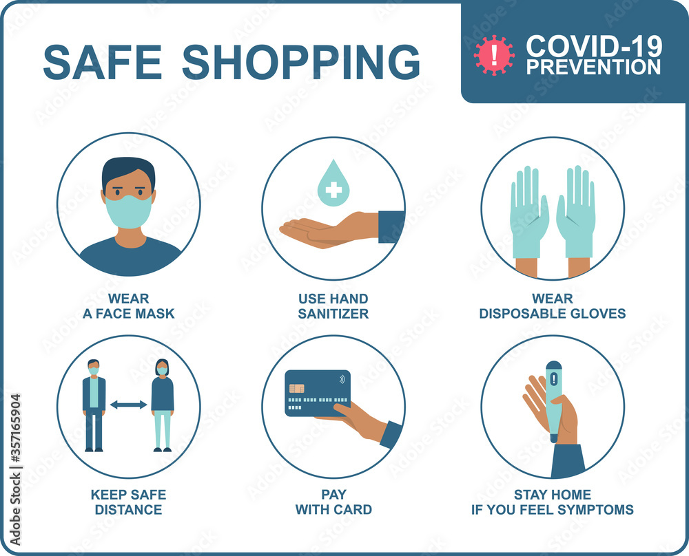 Fototapeta Safe shopping in public places during the coronavirus COVID-19 disease outbreak