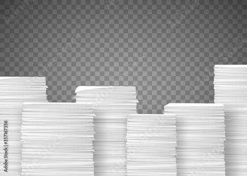 Fotografía Piles of paper documents. Paperwork in the office.