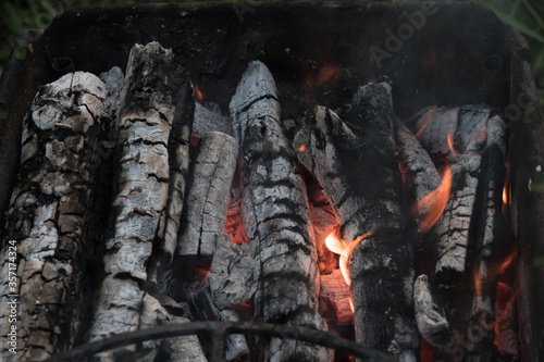 Charcoal Stove burning grill Wallpaper Mural
