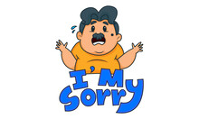 Vector Cartoon Illustration Of A Fat Man. Saying I M Sorry. Isolated On White Background.