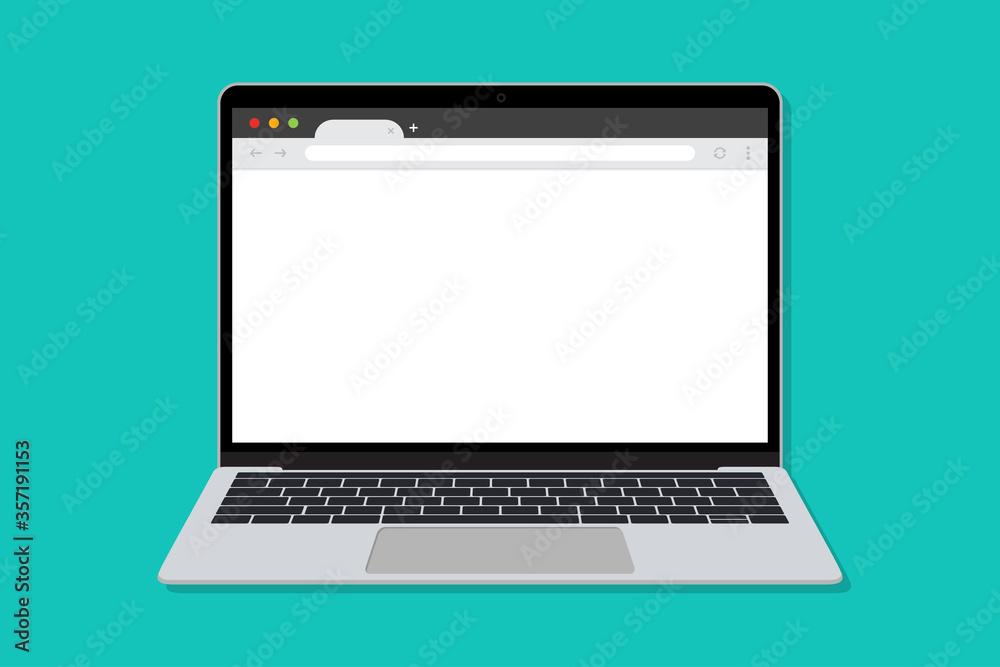 Fotografía Laptop with blank browser window in a flar design