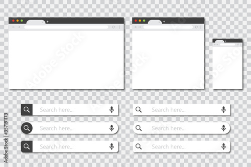 Cuadros en Lienzo Set of browser windows in different sizes and search bar collection in a flat design with shadow