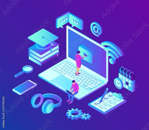 E-learning. Innovative online education and distance learning concept. Webinar, seminar, conference, teaching, online training courses. Skill development. 3D isometric vector with icons and characters