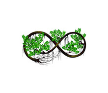Ancient Tree Vector Illustration, Banyan Tree In The Form Of An Infinite Symbols.