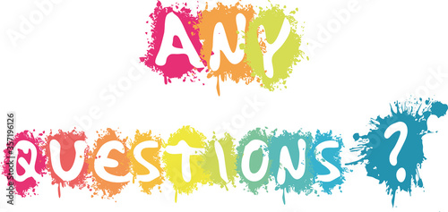 Fotografija Any Questions in white splash background illustration