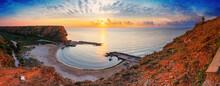 Coastal Landscape, Panorama - Top View Of The Sunrise In The Bolata Cove On The Black Sea Coast Of Bulgaria