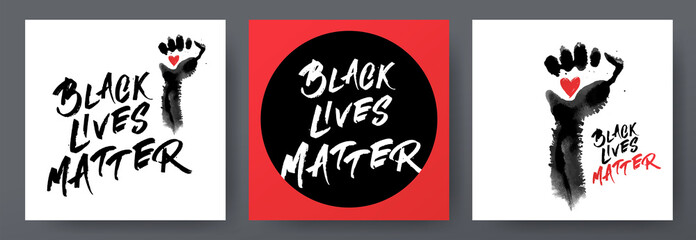 Black lives matter posters set for protest, rally. Awareness campaign against racial discrimination of dark skin color. Social advertising. Black raised fist handprint with text Black lives matter.