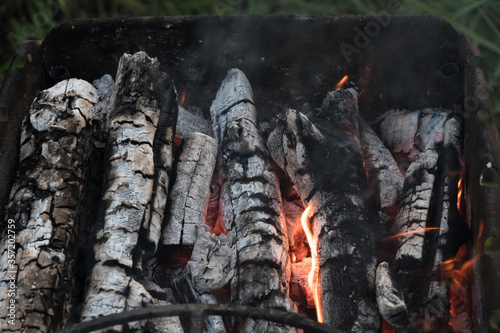 Charcoal Stove burning grill Canvas Print