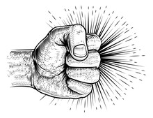 A Hand In A Clench Fist Punching In A Vintage Retro Propaganda Woodcut Style