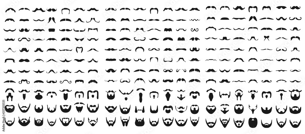 Fototapeta Set of beard with mustache or mustache, vector icons