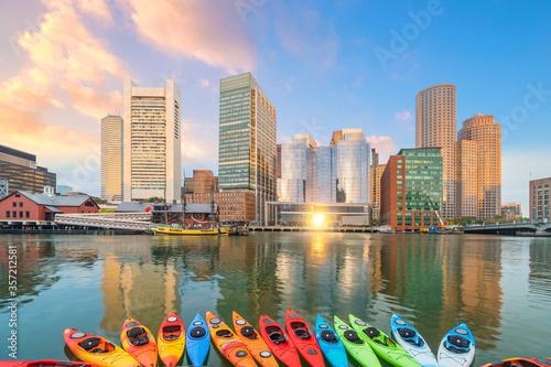 Obraz Boston city downtown skyline USA - fototapety do salonu