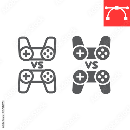 Valokuvatapetti Multiplayer game line and glyph icon, video games and gamepad, game consoles sign vector graphics, editable stroke linear icon, eps 10