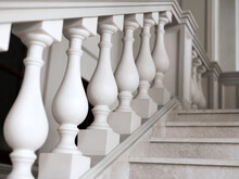 Staircase Of White Marble With...