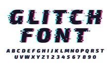 Glitch Font. Letters And Numbers In Trendy And Futuristic Typeface Style. Distortion Alphabet Typeset With Vibrant Effect. Latin Lettering And Digits With Noise Vector Illustration Set.