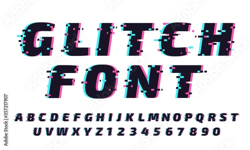 Fototapeta Glitch font. Letters and numbers in trendy and futuristic typeface style. Distortion alphabet typeset with vibrant effect. Latin lettering and digits with noise vector illustration set. obraz