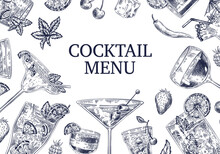 Sketch Cocktail Background. Di...