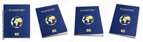 Realistic 3d passport set. International passport cover template for travelling, personal immigration. Blue id document with globe for tourism goal, personal data vector illustration.