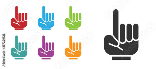 Black Number 1 one fan hand glove with finger raised icon isolated on white background Wallpaper Mural