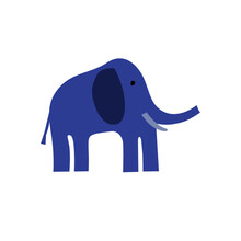 Design Blue Elephant, On White