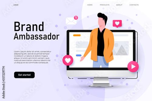 Photo Brand ambassador illustration concept with man on the desktop screen who represent brand company