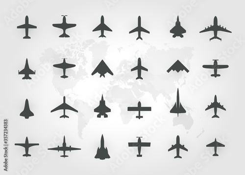 Valokuvatapetti Aircraft top view icon set