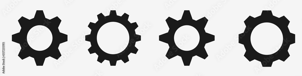 Fototapeta Gear icon set – Black gear and cog wheel on white background – Progress or construction concept– Isolated vector illustration
