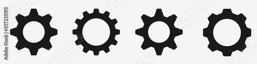 Fotografia Gear icon set – Black gear and cog wheel on white background – Progress or const